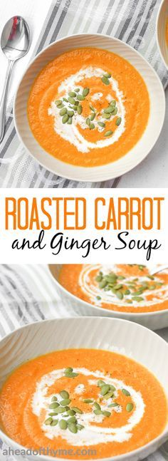 Smooth, rich and velvety roasted carrot and ginger soup is full of flavour, healthy, and super easy to make. | aheadofthyme.com via @aheadofthyme