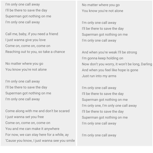 Les 25 meilleures id es de la cat gorie one call away for Miroir lyrics