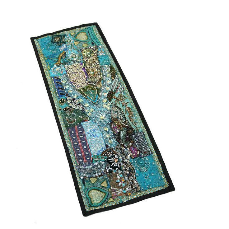 "30X10"" Indian Antique Home Decor Silk unique design & Kundan Patchwork Tapestry #Namasteart #AntiqueStyle"