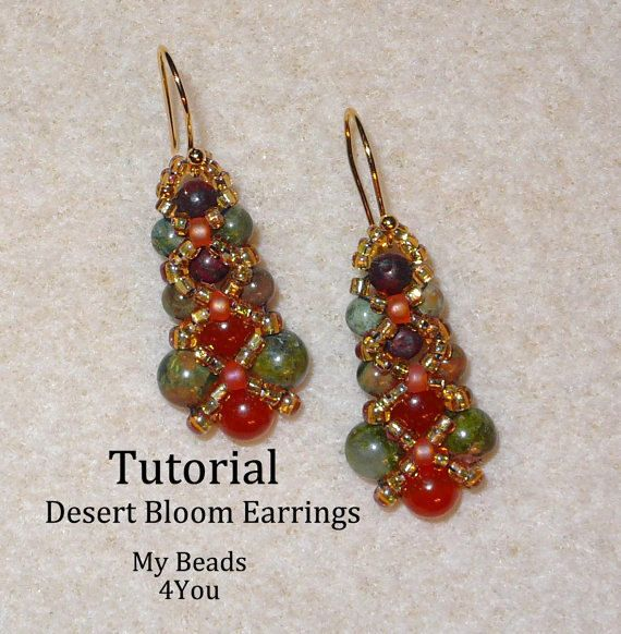 PDF Beading Tutorial, Beaded Earring Tutorial, Seed Bead Tutorial, Beaded Earrings Pattern,