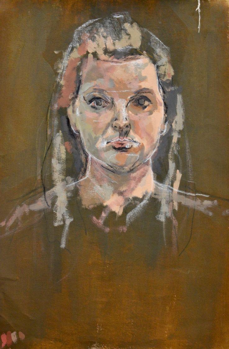 Millie B - Self Portrait - Acrylic on canvas - Truro College A2 Fine Art