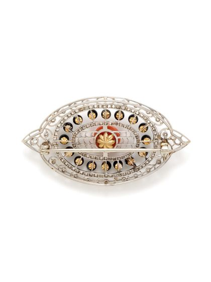 Art Deco Platinum, Onyx, & Coral Pointed Oval Brooch by Portero Luxury at Gilt
