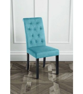 Genoa Teal Upholstered Scroll Back Dining Chair with Dark Legs