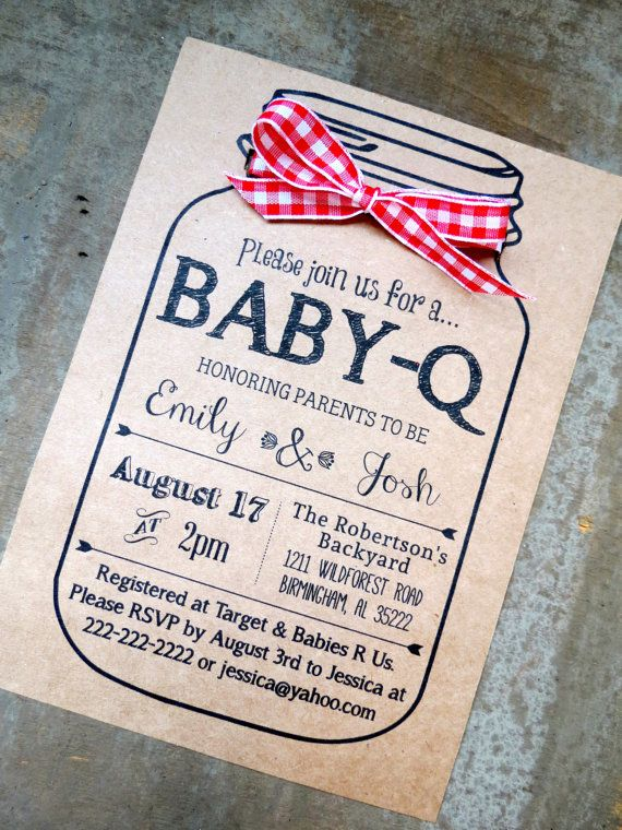 BABY-Q Baby Shower Invitation and Envelopes: Kraft Brown Bag Rustic Gender Reveal Mason Jar Ribbon Bow
