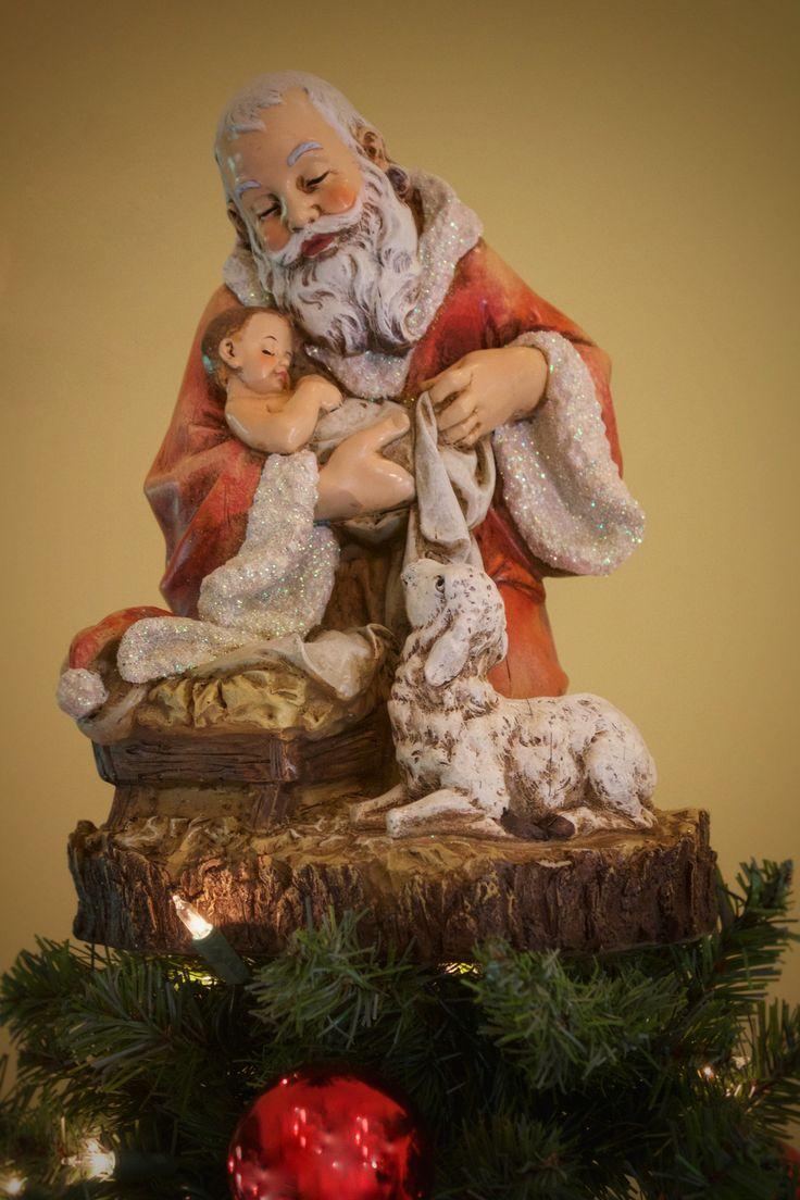 Unique lawn ornaments - Kneeling Santa With Baby Jesus Unique Tree Topper Summit Arbor