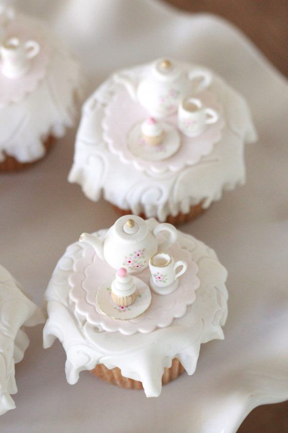 Tea Party Cupcake Toppers and Homemade Marshmallow Fondant | Sweetopia