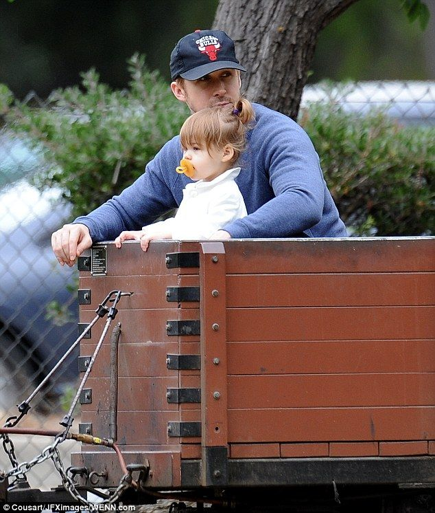 Doting dad: Ryan Gosling was seen taking his 21-month-old daughter Esmeralda for a day out at Los Angeles' Griffith Park on Saturday morning