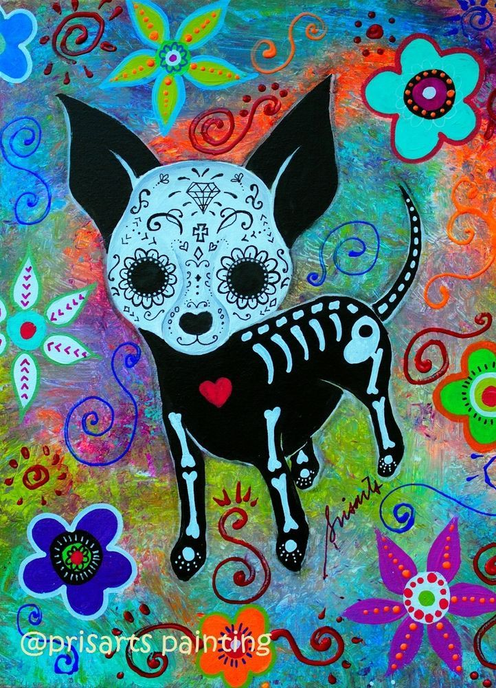 Mexican Dia de los Muertos Chihuahua Original Painting Dog Art Flowers PRISARTS #MexicanFolkArt Mexican Sun and Moon Folk art painting, prisarts, tree of life, Evil eye, hamsa, hamesh, bar bat mitzvah , restaurant art, curator, art collectors