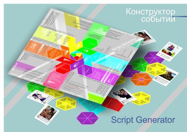 Script generator – это уникальный инструментарий в  помощь специалистам,  работающим в сфере праздничной и event индустрии, pr и рекламы, корпоративной культуры, событийного туризма. Script Generator преобразует творческие коммуникации и трансформирует идеи в готовый продукт. Работа с Script Generator - это постоянная интрига появления неожиданного стимула провоцирующего креатив. Script Generator – это мощный локомотив творческого процесса.