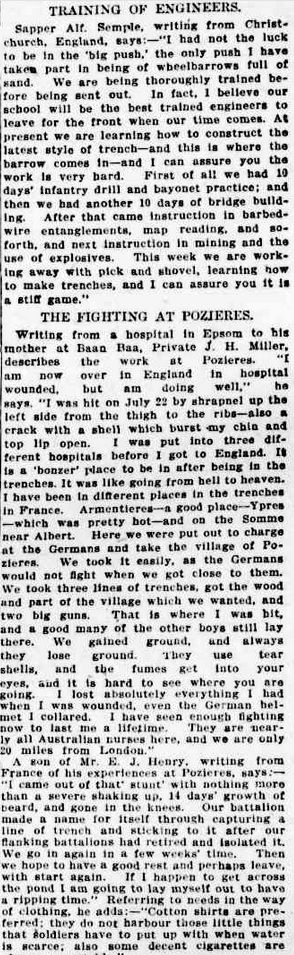 15 Nov 1916, WWI; Letters from soldiers -The Sydney Morning Herald