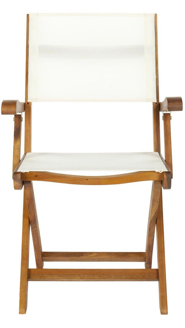 An outdoor director's chair with acacia wood frame and crisp white outdoor-rated fabric, the Banji folding arm chair brings transitional style to the great outdoors. Sold in sets of two. http://zocko.it/LE8Zz