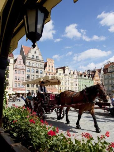 Market square. Old town Wroclaw, Silesia, POLAND.