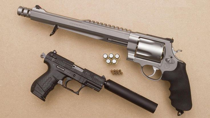 Armas Smith & Wesson 500 Magnum Revolver  Sig Sauer P22 Suppressor Walther Papel de Parede