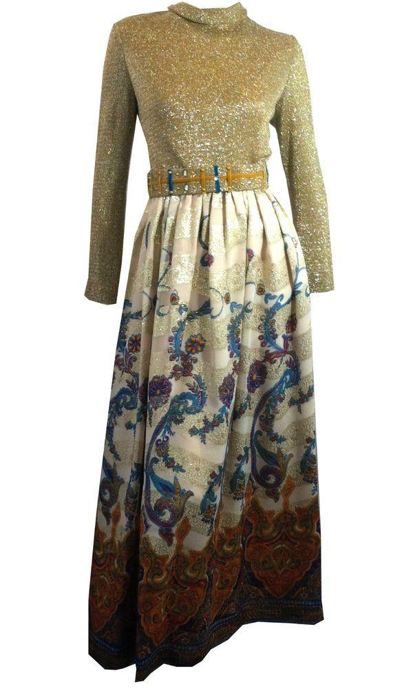 vintage 1970s Victor Costa Romantica Maxi Dress Gown Border Print Lurex Bodice #VictorCosta