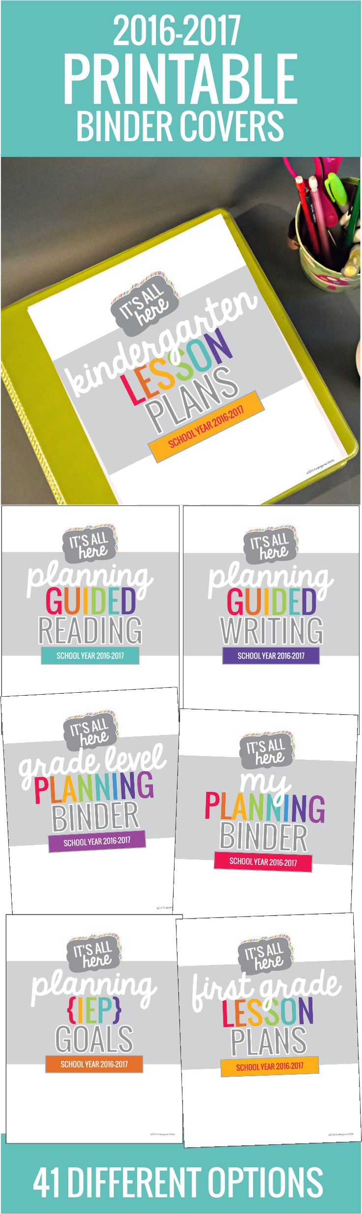 Cute teacher planning binder covers - I love all the options