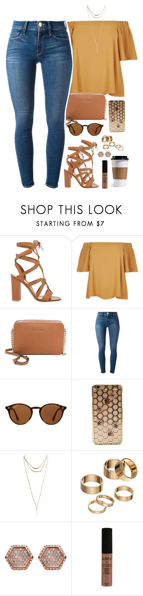 """""""already done with school"""" by daisym0nste ❤ liked on Polyvore featuring Gianvito Rossi, River Island, MICHAEL Michael Kors, Frame, Ray-Ban, Wet Seal, Apt. 9, Henri Bendel, NYX and plus size clothing"""