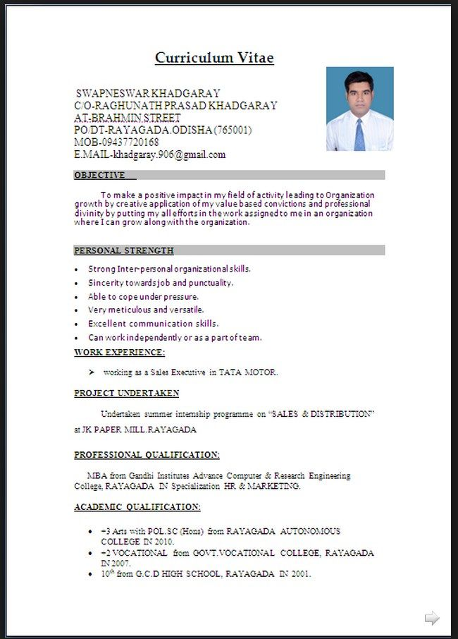 Cv Word Document Format In 2020 With Images Resume Format
