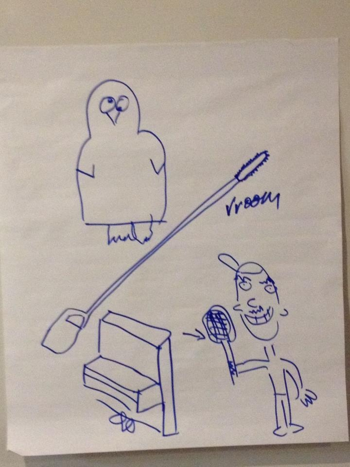 """Playing """"what do you want to rent"""" pictionary with the gang from Transition Bondi.     We have a penguin costume, long reach chain saw, tennis racquet and piano!"""