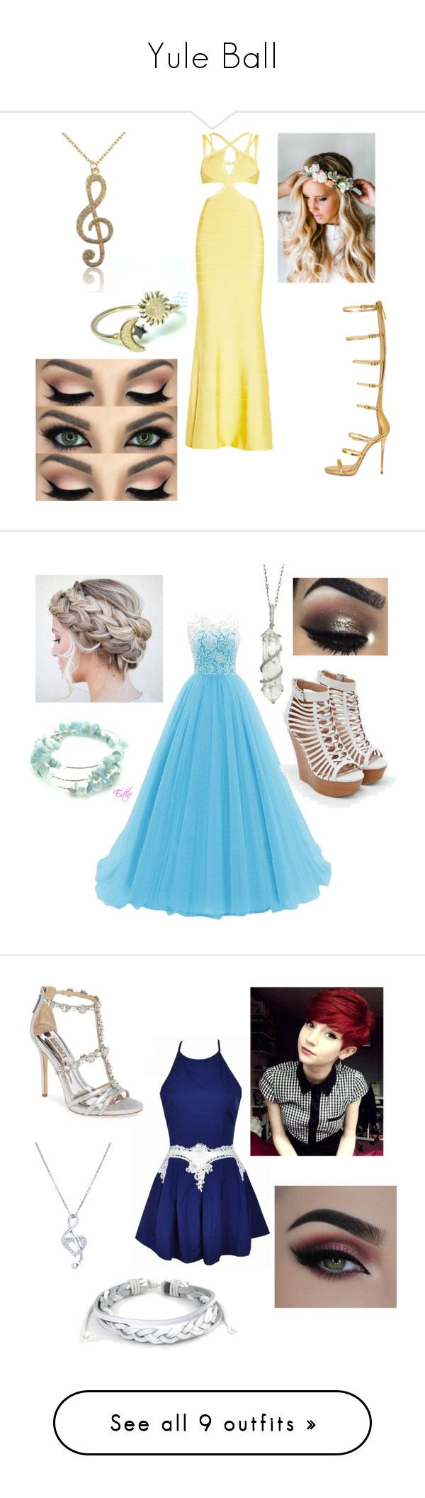 """""""Yule Ball"""" by lilyflowers812 ❤ liked on Polyvore featuring Hervé Léger, Emily Rose Flower Crowns, WithChic, JustFab, Sharon Khazzam, BERRICLE, West Coast Jewelry, Badgley Mischka, Caparros and ALDO"""