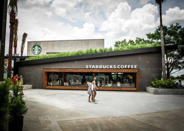 Starbucks senior designer David Daniels has sent us photos of their recently completed contemporary designed location in Downtown Disney, Orlando, Florida.