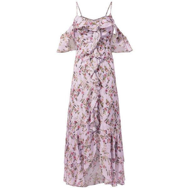 Exclusive For Intermix Emilia Ruffle Dress (3 100 SEK) ❤ liked on Polyvore featuring dresses, multi, purple ruffle dress, flutter-sleeve dresses, silk dress, purple silk dress and frill dress