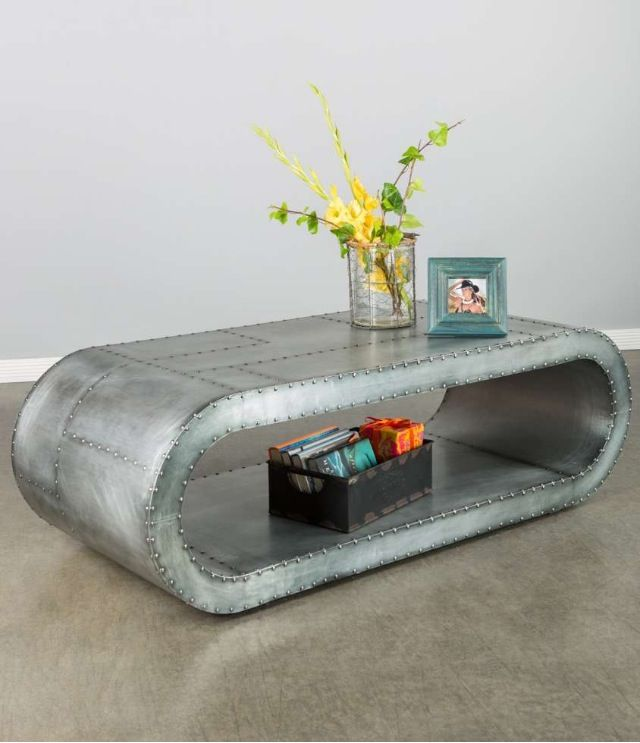 Metal Riveted Oval Coffee Table