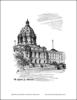 Minnesota Printables: Minnesota Coloring Page - Capitol of Minnesota