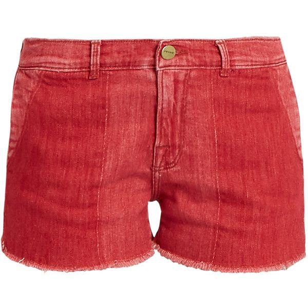 Frame Le Cutoff raw-hem denim shorts ($230) ❤ liked on Polyvore featuring shorts, short jean shorts, short cut off jean shorts, jean shorts, cuffed denim shorts and red denim shorts