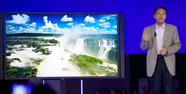 Sony CEO Kazuo Hirai reveals the XBR-84X900, a 3D-capable Bravia TV with a very high 4K resolution of 3,840x2,160 pixels.   Just gorgeous but what the heck is he thinking!  $25,000!!!!