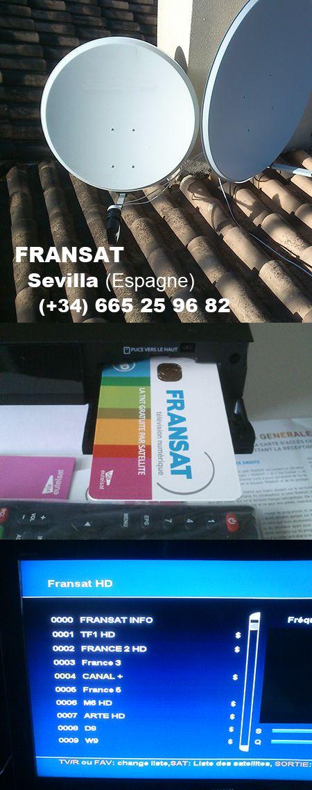 Fransat à Sevilla, antenne parabolique, pack décodeur et carte, résultat à la télévision