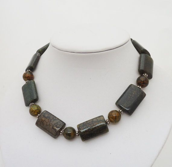 Agate Necklace Moss Agate Necklace Chunky by evecollection on Etsy