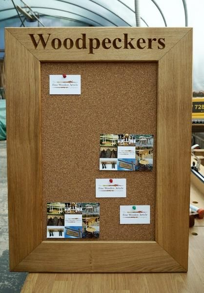 'Woodpeckers' Solid Oak Corkboard - An elegant & durable Solid Oak frame Corkboard for use in a kitchen, study or office. Hand-crafted from sustainable wood & beautifully finished, the frame is rebated to the rear with the cork board held firmly in place with hardboard; supplied with hanging kit. Personalise this item free of cost by choosing a quote, a date, a name with special meaning, to mark a memory or turn an everyday object into a token of appreciation.