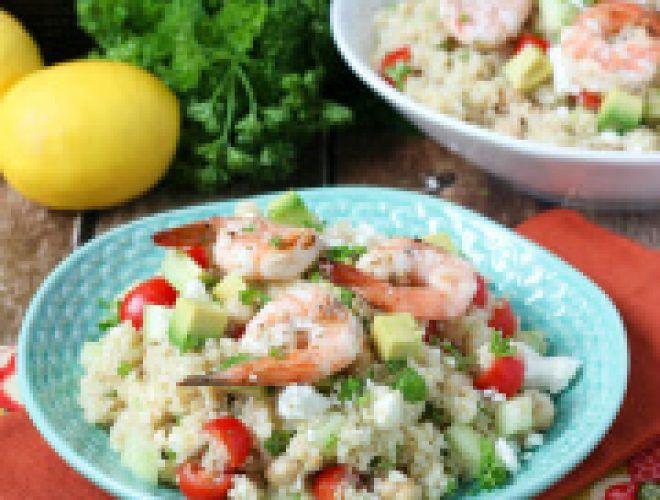 Mediterranean Grilled Shrimp Quinoa Salad - Spoonful of Flavor