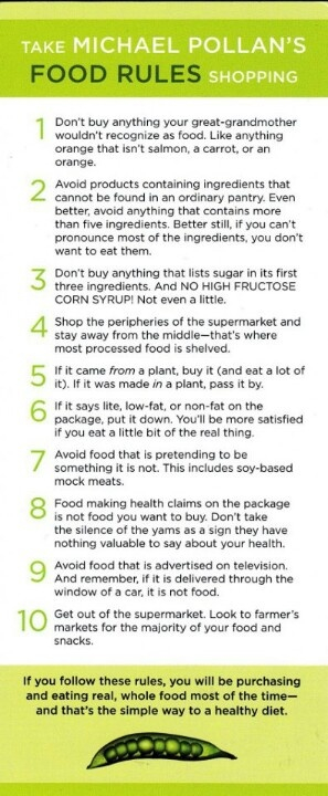 Food rules.  This book is a great guide to eating like we were meant to eat.