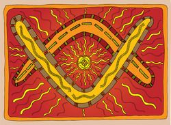 "Aboriginal - ""Boomerang - Safe Journey and Welcome Back"" Door Mat  This gorgeous design by Lee Townsend, Dharug and Kamilaroi Country is a piece of art as Lee describes as names safe journey and welcome back and is designed to be used as a door mat for home, schools or community groups.  The overlapping boomerangs represent a safe journey for you, your family, friends and community when leaving and a welcome return after your journey away."