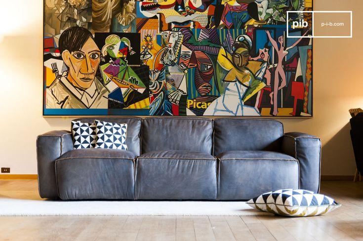 Il divano Atsullivan è un modello speciale, con una pelle di alta qualità che ha subito uno speciale trattamento per dare al divano un aspetto vissuto dal colore grigio brunastro.