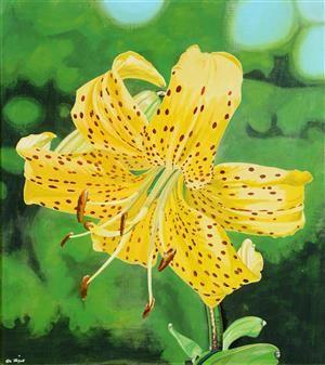 Køb og salg af moderne billedkunst og malerier - Ole Ziger. Citronella lilje, olie på lærred, cd - DK, Herlev, Dynamovej