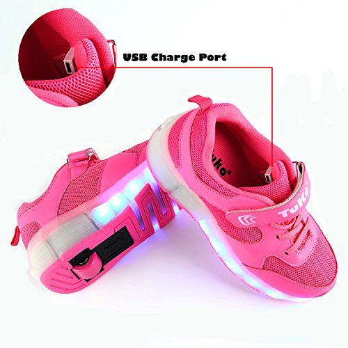 Tuko Rechargeable LED Skate Shoes for Girls,Rechargeable Light Roller Skate Shoes With Wheels Flashing Sneakers (2M)