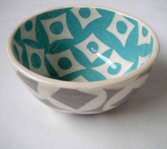 tazón de fuente de cerealturquesa y pálido por CeramicaBotanica