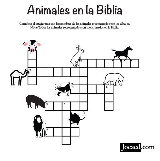 Crucigrama Animales En La Biblia Fashion Pinterest Sunday