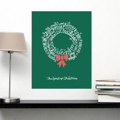 The Spirit of Christmas Garland Lettering Poster Wall Sticker Adesivo da Muro