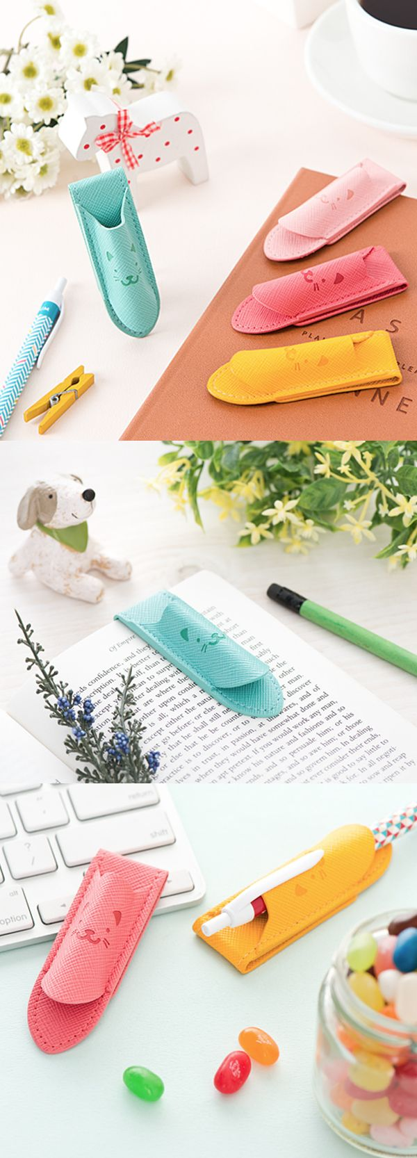 "One good look at the Cat Leather Pen Holder and you will think, ""Wow that's really colorful and pretty"". But that's not all! This is a smart pen holder that can be easily attached to any of your notebooks, planners, or others to help you carry your pen anywhere!"