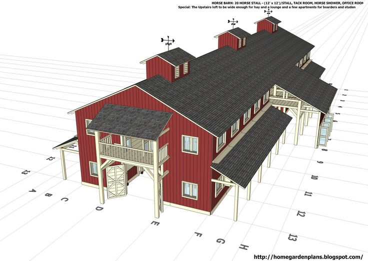 Digital view of a massive 20 stall horse barns, with office and living space on the second floor. Plenty of room for feed and equipment, and certainly no trouble moving trailers and vehicles into or around this pole barn.