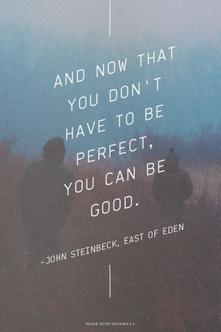 And now that you don't have to be perfect, you can be good. -John Steinbeck, East of Eden