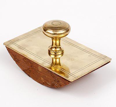 Found on www.botterweg.com - Brass blotter holder design execution by Jan Eisenloeffel the Netherlands ca.1905