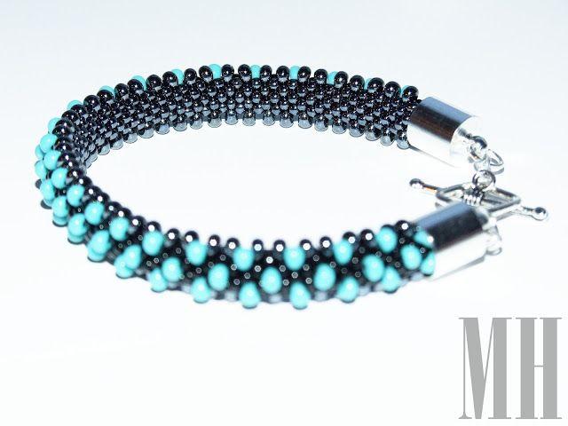 polandhandmade.pl  #polandhandmade #jewellery Chromowana gąsieniczka w turkusowe centki | MH Biżuteria - cuda ręcznie wykonane