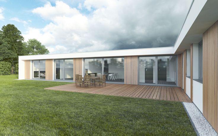 Orientace domu na pozemku vzhledem kokolní zástavbě poskytuje majitelům dostatek soukromí. Na kuchyni sjídelnou plynule navazuje venkovní terasa zprofilů zjihoamerického dřeva.