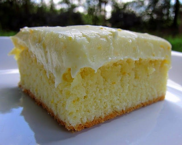 Orange Cake - delicious! Hubby gave it 2 thumbs up! Great citrus bars for summer. I cut the sugar back to 1 1/2 cups and added more   orange zest to the cake and frosting - yummy! If you bake it in a glass baking pan bake at 325 degrees instead of 350.