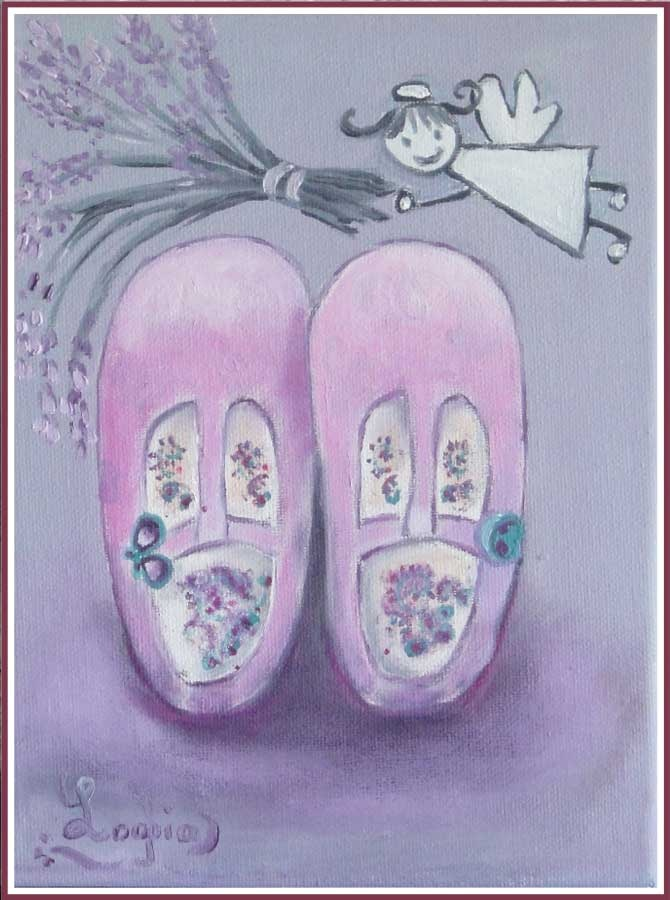 baby girl shoes, oil painting