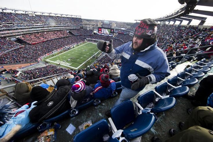 """FOXBOROUGH — Way up in the nosebleed seats of Gillette Stadium, the beer is frozen solid. Fans in Section 340 wrapped the free hand warmers the Patriots gave out around their blue aluminum bottles of Bud Light, trying to thaw them out. """"Ice-cold beer"""" took on new meaning for Eric Fay of Haverhill, who was bundled up like a Siberian survivor but drinking responsibly during Sunday's Patriots-Jets game. """"This is what they give you for $9 ..."""